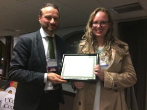 ESS leader Fariborz Zelli with  the Winner of the Graduate Student award Saskia van Wees, from University of Florida
