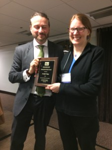 ESS leader Fariborz Zelli with the 2018 Distinguished Scholar Jennifer Clapp